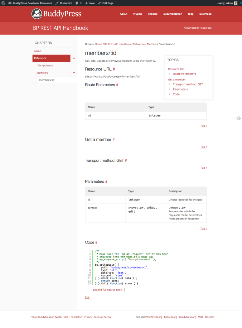 Screen capture of a potential page of the BP REST API handbook