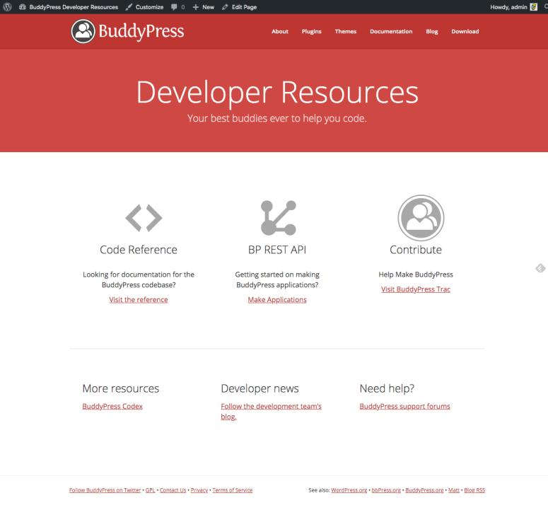 Screen capture of the BP DevHub homepage