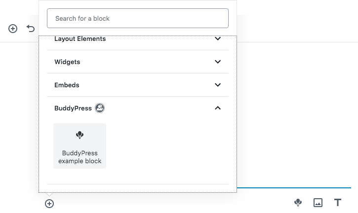 Screenshot of the Block selector