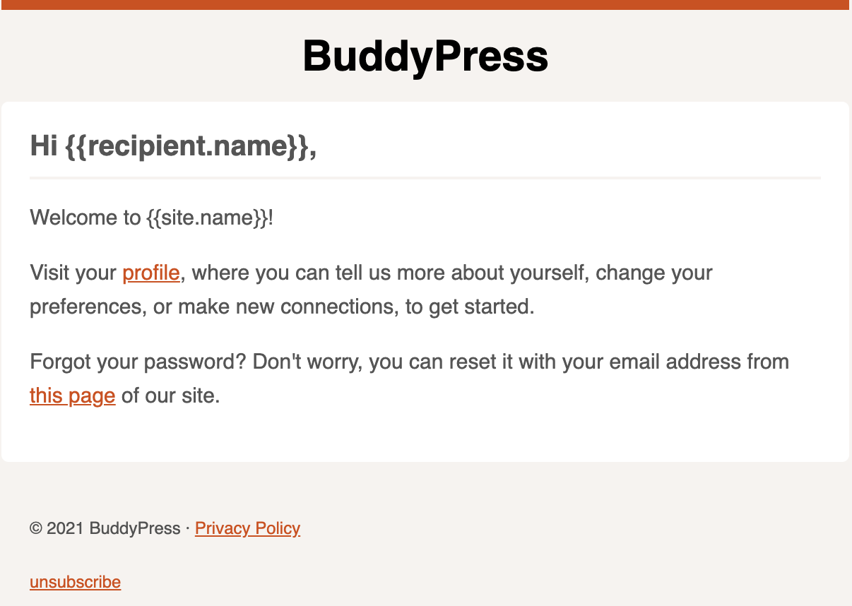 Screen capture of the default Welcome email